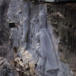 ca. 1968, Atlanta, Georgia, USA --- Carving in Progress at Stone Mountain --- Image by © James L. Amos/Corbis